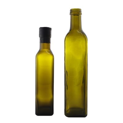 Stock Empty Amber Square 250 ML Olive Oil Glass bottle For Cooking Oil With Green Plastic Screw Cap