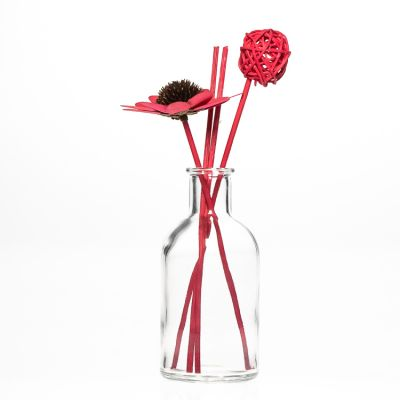 Decorative 250 ml Round Clear Empty Glass Reed Diffuser Bottle