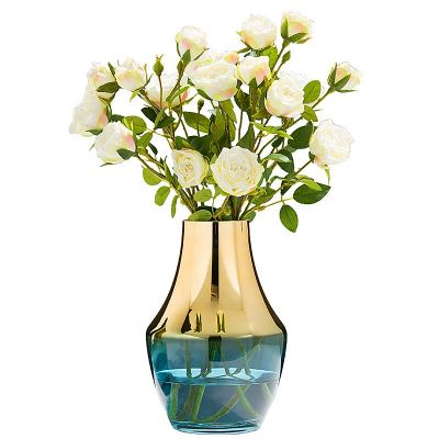 Electroplate gold glass vase for home decoration