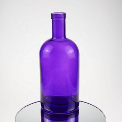 70cl 75cl purple color glass painting round vodka whisky gin Olso bottle with cork