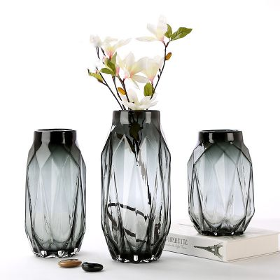 Modern simple style flower smoky grey glass vase for home decoration wedding