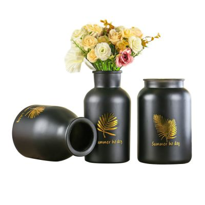 Wholesale Black Cylinder Glass Vase Beautiful Decoration Glass Flower Vase Jardiniere for Home Office Decoration