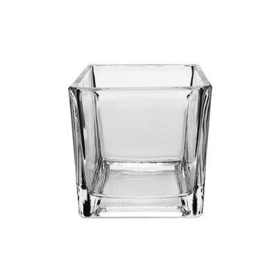 High-end Hand Made Mouth Blown Cube Shape Crystal Glass Vase