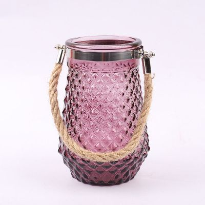 Colorful Creative Shape Glass Vase Decorative Glass Vase with Rope