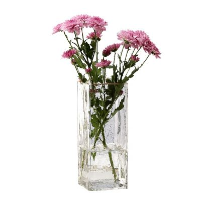 popular glass vases candle holder wedding centerpieces,clear glass vase for flower,square clear glass vases