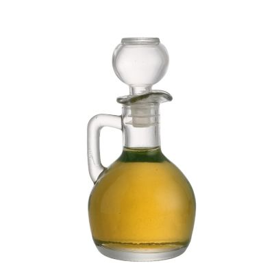 Wholesale 150ml suppliers clear empty packaging container glass olive cooking oil bottles with handle