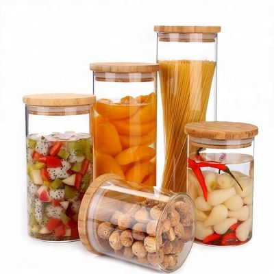450ML High Quality Glass Jar with Wood Lid Hermetic Pot Borosilicate Candy Bean Glass Jar Kitchenware Storage Can