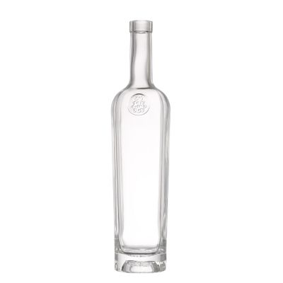 Custom best quality 350 ml transparent liquor wine tall glass bottle wine with cover