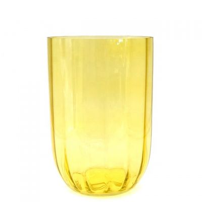 Large Tall Hurricane Yellow Glass Candle Holder Candle Jar for Wedding Party