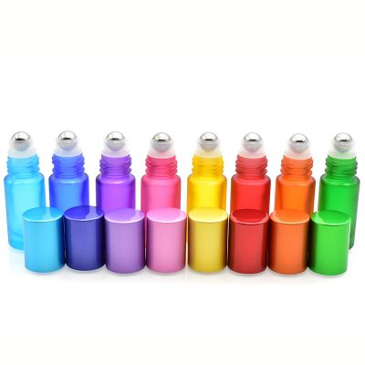 empty thick material color roll on bottle 5ml matte glass roller bottle for essential perfume cosmetic packaging
