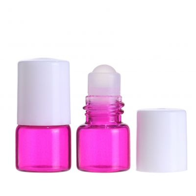 pink cosmetic 1ml glass roll on bottle with glass roller ball in top for essentia oil