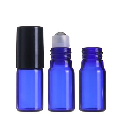 Glass roll on perfume bottles essential oil stainless steel roller 3ml new style bottle for cosmetic container with black lid