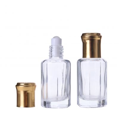 Chinese manufacturer 12ml customized unique mold roll on perfume glass bottle with plastic ball for skin care