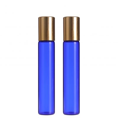 3ml 5ml 10ml blue glass vials empty roller bottles roll on attar vial with gold cap