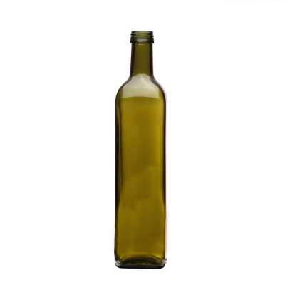 Cheap price tall 750ml empty dark green square rectangle shape olive oil glass bottles with lid