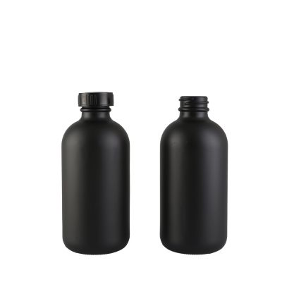 China Round Shape 250 ml Spray Matte Black Boston Glass Bottle with Screw