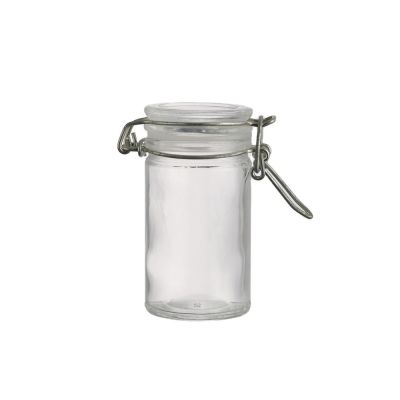 Design new style 80 ml round wide mouth food grade clear glass storage jar with clip