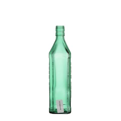 700ml square transparent green carbonated buckle sealed glass beer bottle with screw