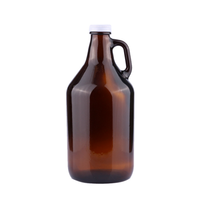 Wholesale 2L california style empty amber growler beer glass bottles with handle