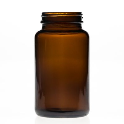 Pharmaceutical Grade 300ml 30cl Round Empty Amber Wide Mouth Glass Pill Bottle with Plastic Cap