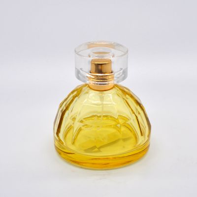 Beautiful design 50 ml two-color hemispherical glass crystal perfume spray bottle