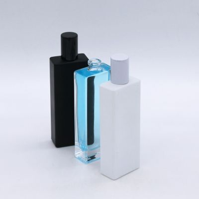 wholesale rectangle solid white black glass perfume bottle 50ml
