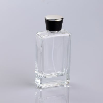 empty clear 100ml square perfume bottle with leather cap