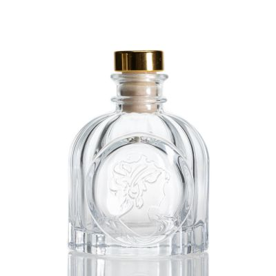 Wholeasle Luxury 100ml Birdcage Shaped Embossed Glass Reed Diffuser Bottle