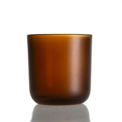 Factory Direct 200ml Cylinder Round Candle Holder 6oz Glass Amber Candle Jars