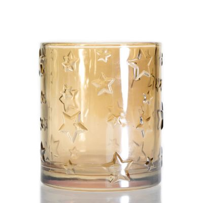 Luxury Star Pattern Empty Candle Jar Round Glass Gold Clear Candle Holder For Wedding