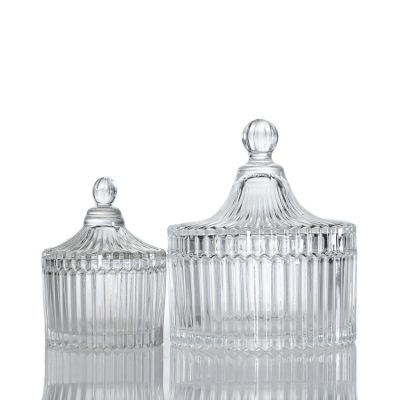 Wholesale 80ml 3oz Embossed Cylinder Glass Candle Holder 8oz Empty Candle Jar With Glass Lid