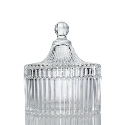 Custom Design 260ml 9oz Cylinde Clear Round Glass Candle Jar with Glass Lid