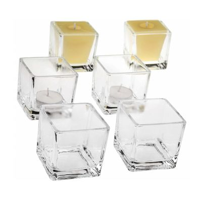 square wide mouth glass candle jar / glass jar for candle making for sale