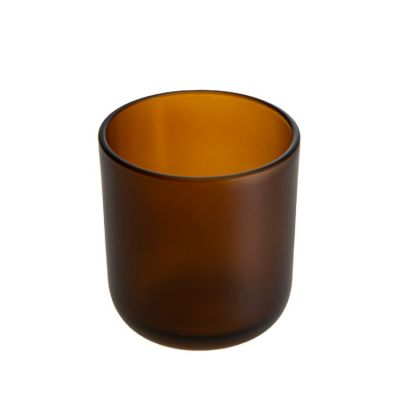 Wholesale Tealight Candle Holder Round 170ml Empty Amber Candle Glass Jar