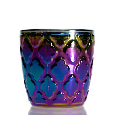 Custom Pearlescent Color Fancy Plating Candle Glass Jars 180 ml 6oz Round Empty Home Decor Candle Holder