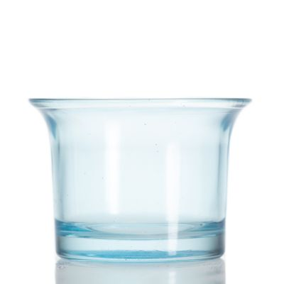 Factory Round shaped 50 ml Glass blue Candle Jars Nordic Small Candle Holder