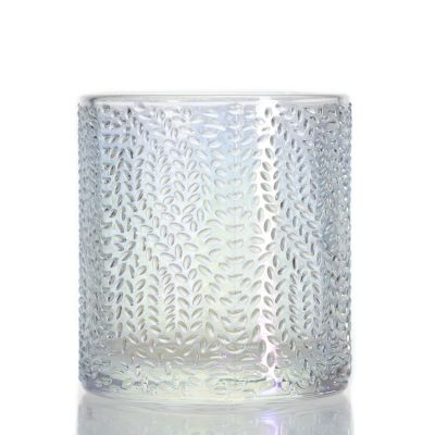 Unique Round Colorful Ion Plating Candle Cup Tea Light Embossed Clear Candle Jar